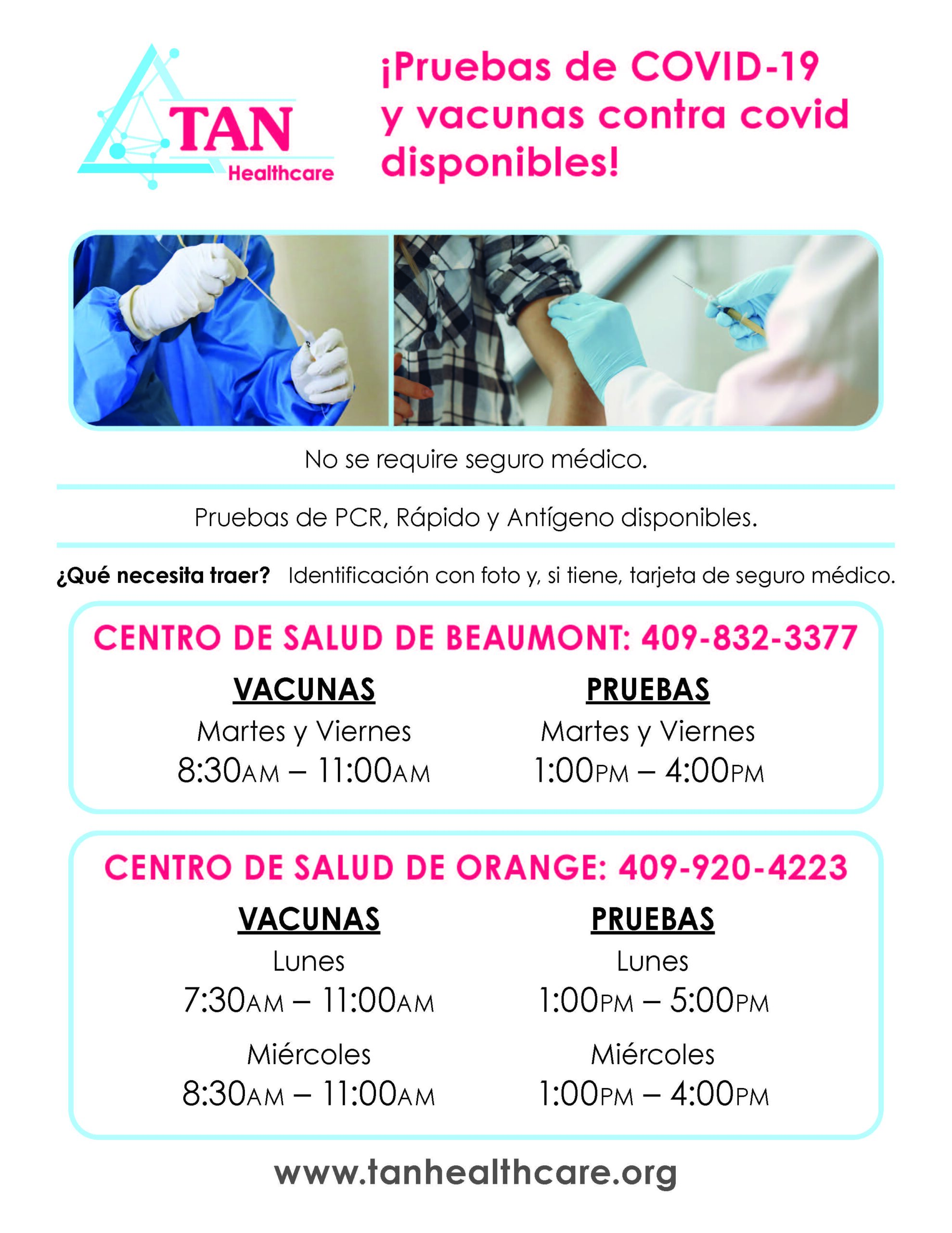 COVID Testing and Vaccine Flyer Spanish 92021